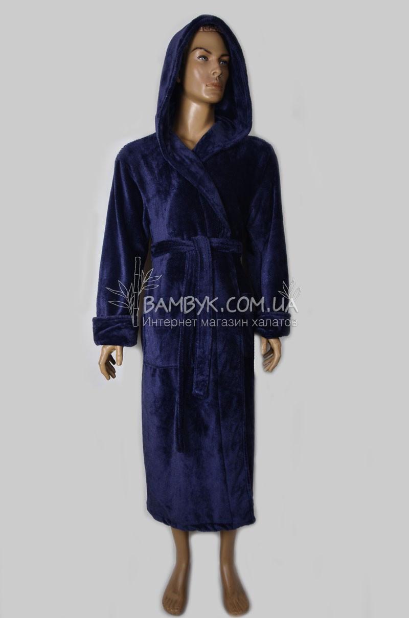 25c4bca6aa45e Теплый мужской халат из микрофибры Nusa (синий) №162740 - интернет-магазин