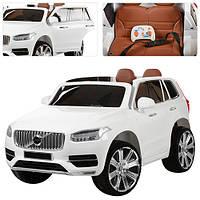 Детский электромобиль Volvo M 3278 EBLR белый, кожа, ключ, амортизаторы, двери, капот, EVA, пульт 2.4G