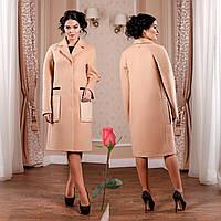 Демисезонное пальто с большими накладными карманами  F 77998  Персик