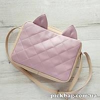 Женская сумка с ушками кошки беж-розоваый Мур
