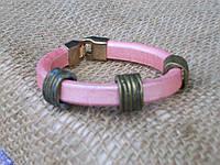 Женский кожаный браслет розовый регализ ручная работа