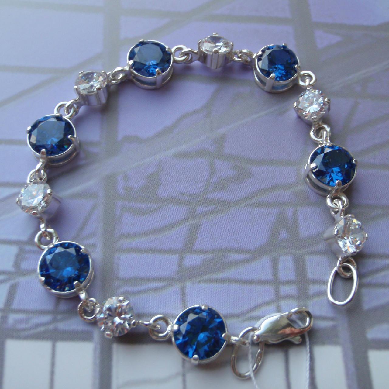 Серебряный женский браслет с камнями, 180мм