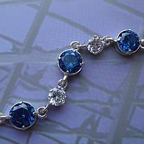 Серебряный женский браслет с камнями, 180мм, фото 2