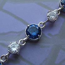Серебряный женский браслет с камнями, 180мм, фото 3