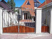 Ворота из нержавеющей стали с элементами холодной ковки