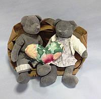 Подарок к Дню влюбленных Мишки Мальчик и Девочка, 30 см, вилюр, стилные подарки, Днепр