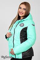 Теплая демисезонная куртка для беременных Lemma, мятная с черным