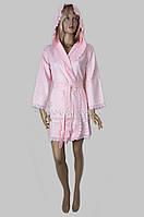 Короткий вафельный халат с кружевом Nusa (розовый) №0213