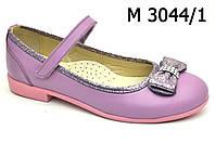 Туфли - лодочки  кожаные, летние, нарядные для девочки на липучке ТМ FS collection. Размер 27-35