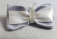 Галстук бабочка. серая с белым. Подарок