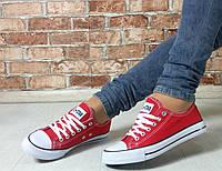 Женские красные текстильные кеды All Star