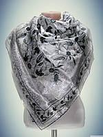 Платок атласный Арниса, белый с черным