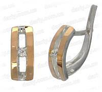 """Серебряные серьги с золотыми накладками """"Калифорния"""", фото 1"""