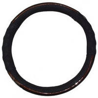 Оплетка руля кожа L King  KSW-2951-1 черная/красная