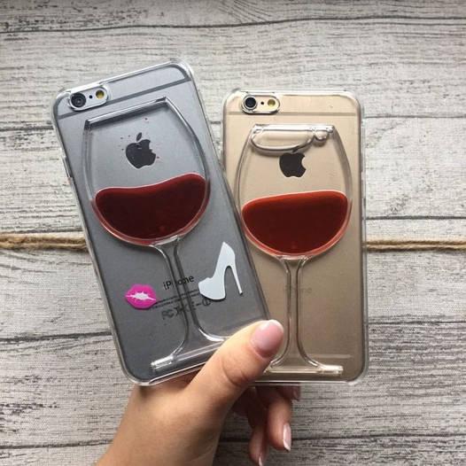 Пластиковый чехол бокал с вином iPhone 6/6s