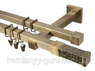 Карниз квадро 20х20 мм, двойной, наконечник Тресано