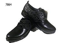 Туфли женские комфорт натуральная кожа черные на шнуровке  (7864)