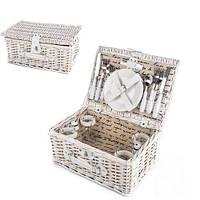 Корзинка для пикника из лозы с набором принадлежностей и посуды