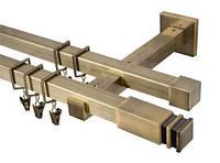 Карниз квадро 20х20 мм, двойной, 160 см, наконечник Занотти