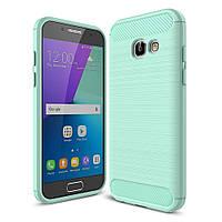 Чехол накладка для Samsung Galaxy A3 2017 SM-A320 силиконовый, Carbon Fibrе, бирюзовый