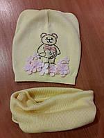 """Комплект шапка и хомут для девочки """"Мишка с цветочками"""",желтый,вязка"""