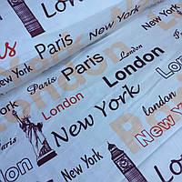 Фланель,название городов с персиково-бордовыми надписями на молочном фоне №512