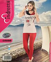 Турецкая хлопковая пижама лосины и футболка для дома и отдыха