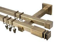 Карниз квадро 20х20 мм, двойной, 240 см, наконечник Занотти