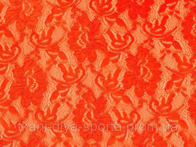Стрейч-гипюр CHRISANNE (Англия) красно-оранжевый (flower tango flare)