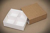 Коробка для конфет, макаронс, печенья 158*158*53 мм., с ложементом, крафт, фото 1