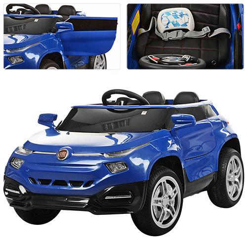 Детский Электромобиль Джип Fiat M 3292 EBLR синий, мягкое сиденье, амортизаторы, двери, колеса EVA, пульт
