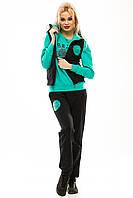Спортивный костюм тройка, двухнитка зеленый