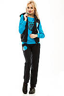 Спортивный костюм тройка, двухнитка голубой