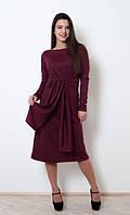 Стильное бордовое платье длины миди
