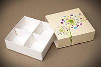 Коробка для конфет, макаронс, печенья 158*158*53 мм., с ложементом