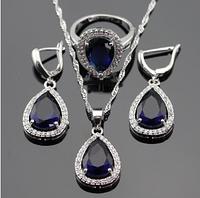 Комплект украшений в серебре с синим сапфиром