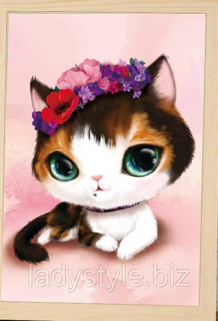 """Картина  """"Кошечка с цветами"""" от студии LadyStyle.Biz"""
