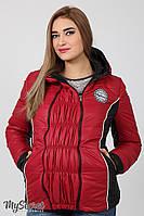 Теплая демисезонная куртка для беременных Lemma, ягодная