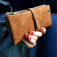 Выбор! Женское портмоне нубук. Женский клатч нубук. Модный бумажник. СК07