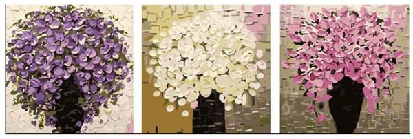 Раскраски для взрослых 50х150 см. Триптих Три букета