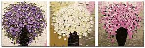 Картини за номерами 50х150 див. Триптих Три букети