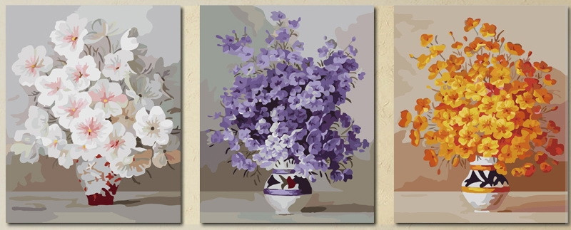 Картины по номерам 50х150 см. Триптих Нежные цветы