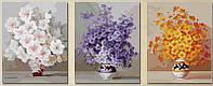 Картины по номерам 50х150 см. Триптих Нежные цветы , фото 1
