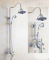 Колонна  стойка, система) душевая со смесителем для ванны с большой лейкой для тропического душа С11 Deco хром