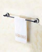 Полотенцедержатель ( дерджатель для полотенец) прекладина одинарный в ванную комнату Deco Black черный