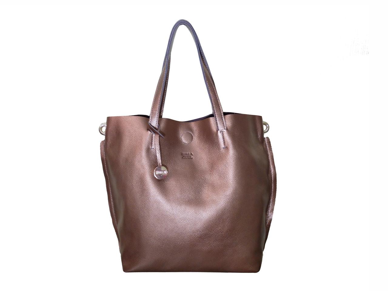 Женская кожаная сумка-тоут в стиле Фурла (бронзовая) №3399 - Грани в Одессе