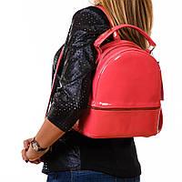 Розовый рюкзак женский молодежный лаковый