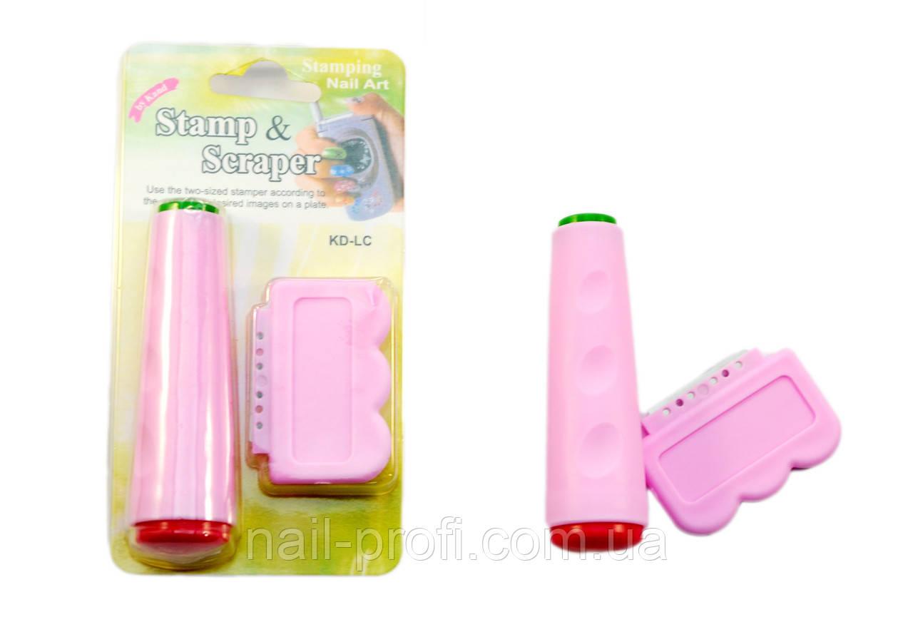 Печать для стемпинга двухсторонняя (розовая )