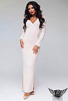 Платье в пол с вырезом на груди и ножке розовое