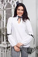 Белая блуза в офис с завязками